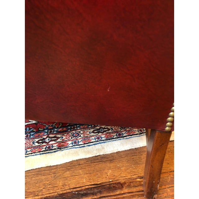 1950s Vintage Maroon Leather Wingback Chair For Sale - Image 9 of 13