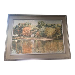 Late 20th Century Lewis Island Lambertville, Nj Oil Painting For Sale