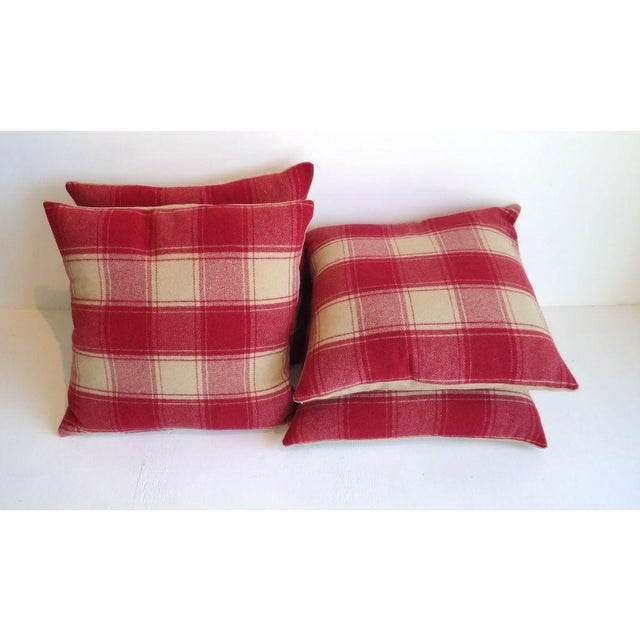 Ealry 20th century wool pendleton blanket pillows n raspberry and cream plaid with cream homespun wool blanket backing....