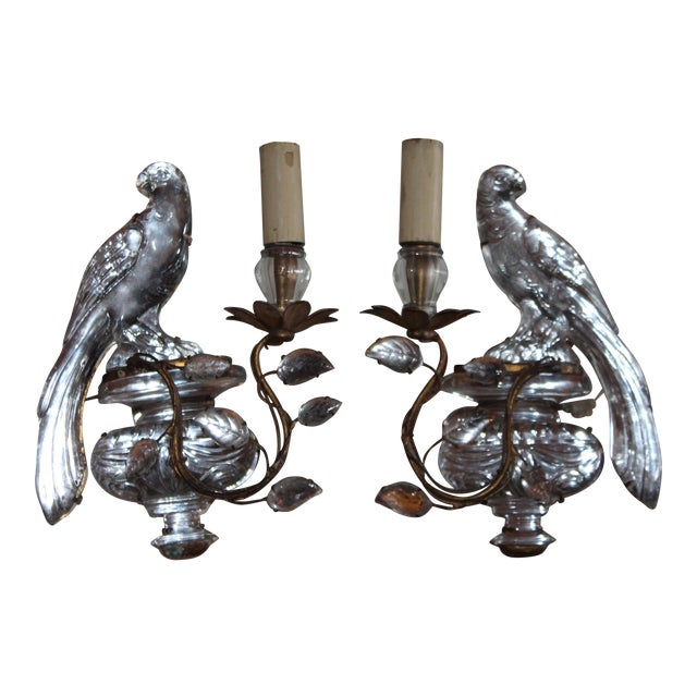1920s Maison Bagues Signed French Art Deco Opposing Face Parrot Sconces - a Pair For Sale