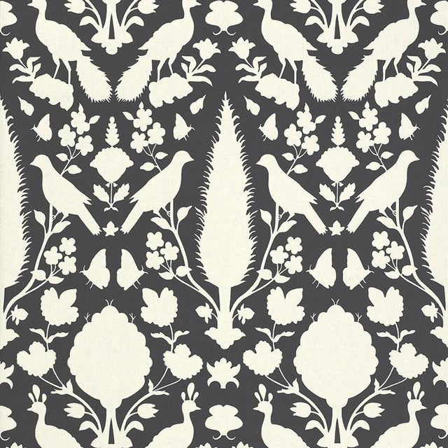 2010s Schumacher Chenonceau Damask Wallpaper in Charcoal - 2-Roll Set (9 Yards) For Sale - Image 5 of 5