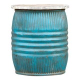 Image of Turquoise Blue Drum Side Table For Sale