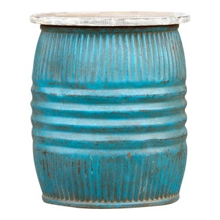 Turquoise Blue Drum Side Table For Sale