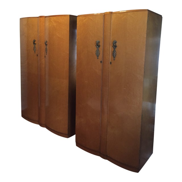 Birds Eye Maple Art Deco Wardrobes - a Pair For Sale
