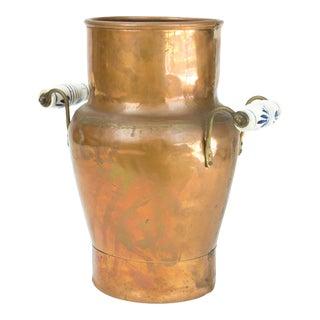 1960s Vintage Copper Vessel, Delft Handles For Sale