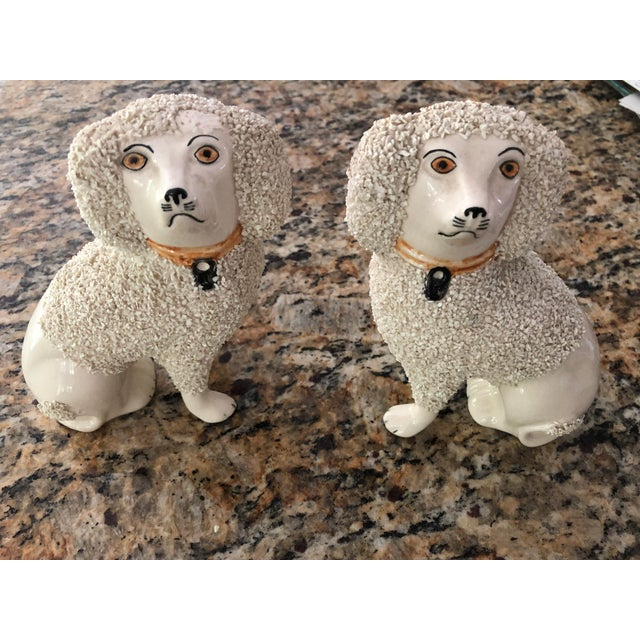 Antique Staffordshire Poodle Dog Figurines- a Pair For Sale - Image 10 of 13