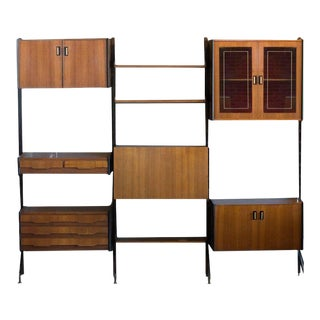 Midcentury Italian Wall Unit With Adjustable Teak Shelves and Cases For Sale