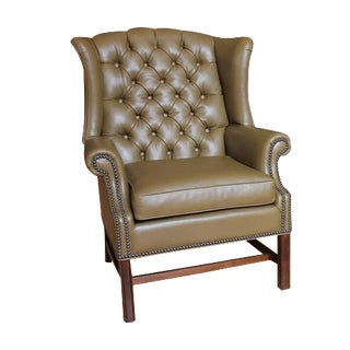 1920's Vintage American Library Tufted Leather Wing Chair For Sale