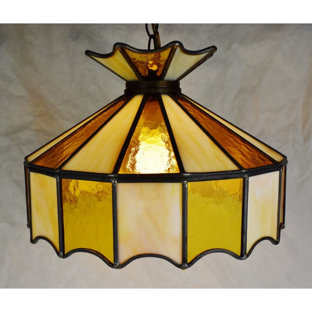 Vintage Tiffany Style Leaded Glass Pendant Light Chandelier For Sale In Philadelphia - Image 6 of 13