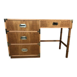 1970s Dixie Oak Wood Campaign & Bamboo Style Desk For Sale