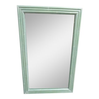 Mid-Century Modern Mint Green Bamboo Wall Mirror
