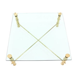 45x 45 Faux Bamboo Large Heavy Solid Cast Brass Legs Square Coffee Table For Sale