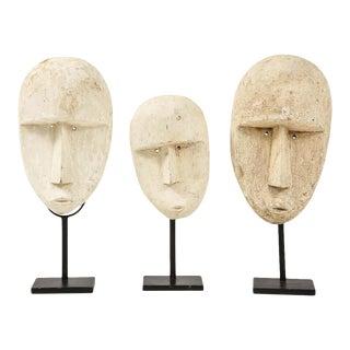 1970s Carved Modernist Plaster Mask Sculptures - Set of 3 For Sale