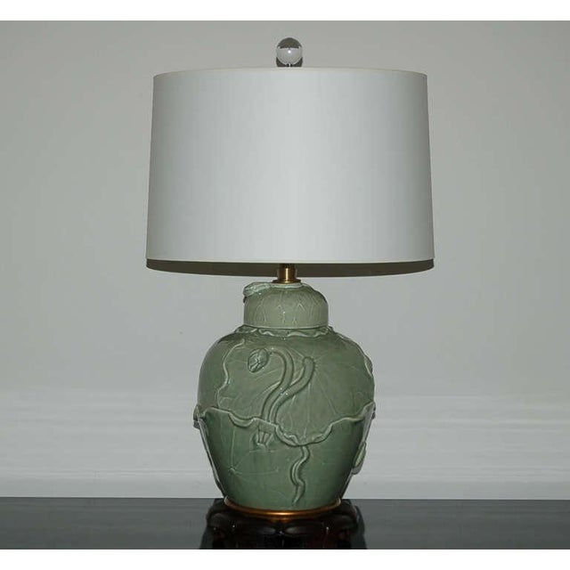 Hollywood Regency Marbro Italian Porcelain Table Lamps Celadon Green For Sale - Image 3 of 10