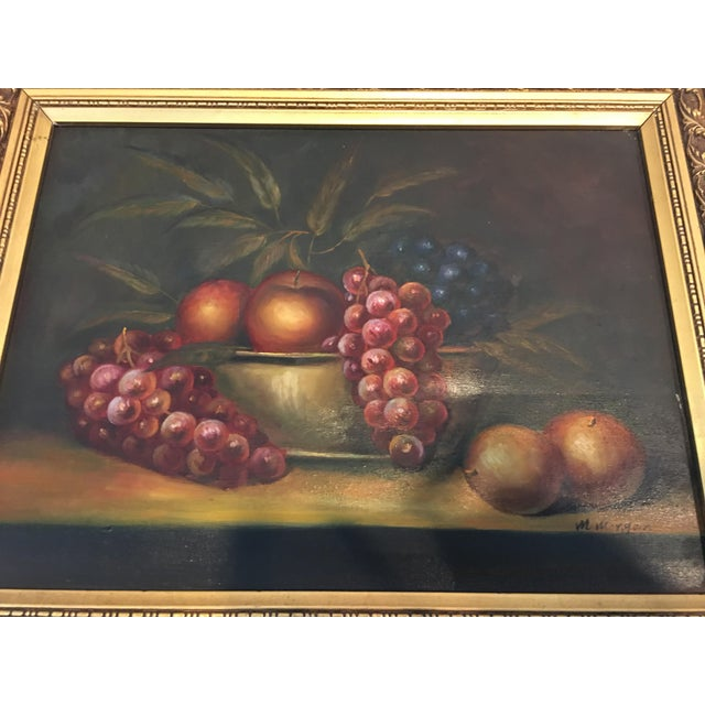 1960s Vintage M . Morgan Still Life Oil on Canvas Painting For Sale - Image 4 of 7