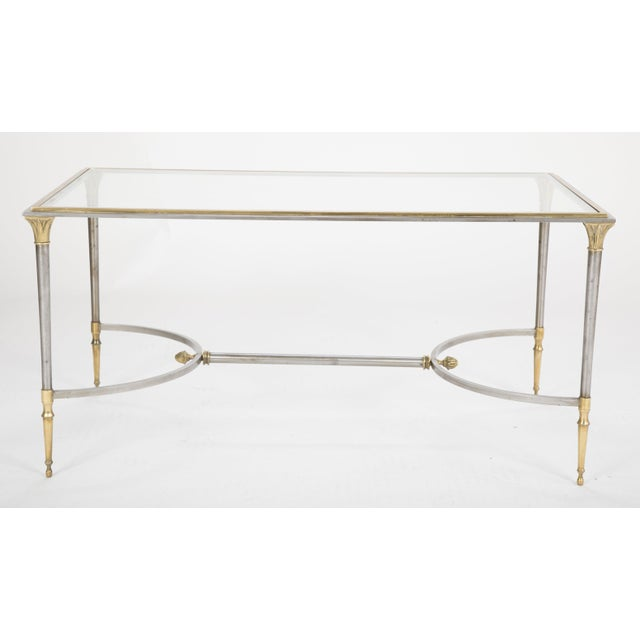 Maison Charles Steel & Bronze Glass Top Coffee Table For Sale - Image 12 of 13