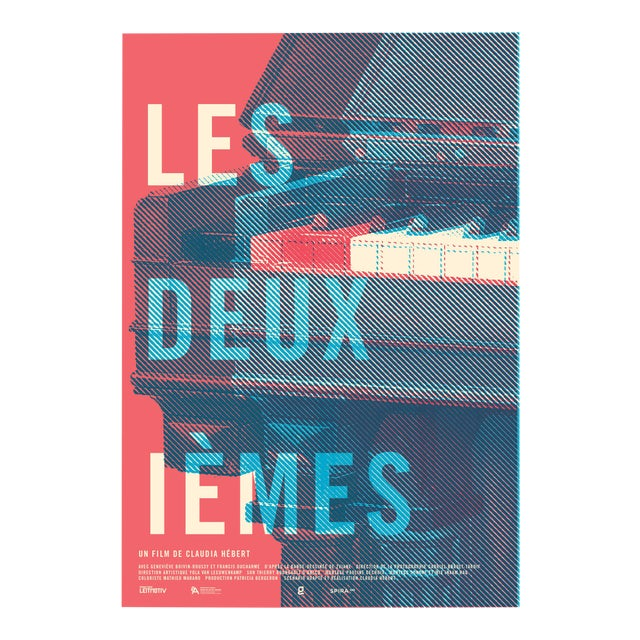 """2016 Contemporary Film Poster - """"Les Deuxiemes"""" (Red and Blue) For Sale"""