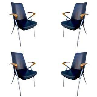 Modernist Leather Office Chair With Cherry Oak Wing Back Armrest, Set of 4 For Sale
