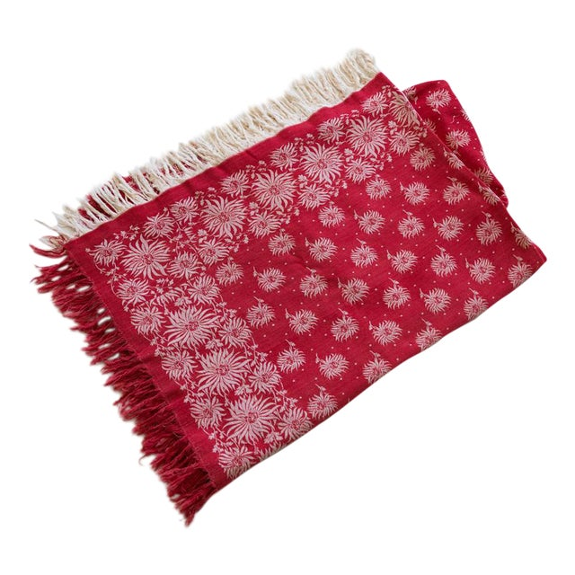 b87799b56e1 Vintage Christmas Tablecloth Turkey Red Damask Poinsettia Flowers For Sale