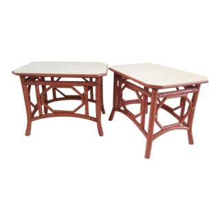 Vintage Rattan Chippendale Side Tables - a Pair For Sale