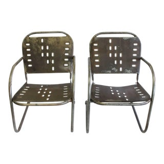 Mid-Century Garden Metal Lounge Chairs- A Pair For Sale