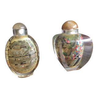 Vintage Chinese Inside-Painted Glass Snuff Bottles - A Pair For Sale
