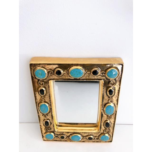 Metal Françoise Lembo Gold & Jeweled Mirror For Sale - Image 7 of 9