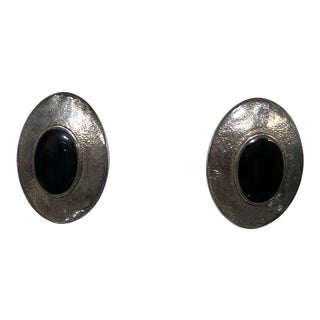 Beautiful Oval Sterling and Onyx Ear Clips For Sale