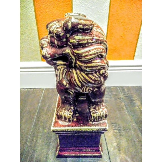 English Traditional Burgundy Ceramic Foo Dog Statue For Sale - Image 3 of 5