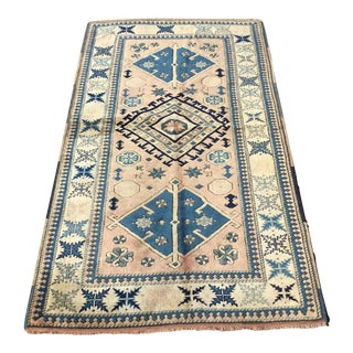 Vintage Turkish Hand Knotted Area Rug For Sale