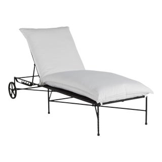 Italia Chaise Lounge in Linen Snow For Sale