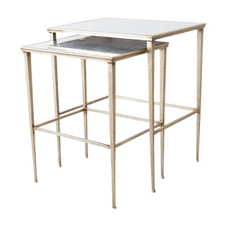 Pair of Silvered Iron Nesting Tables With Mirrored Tops For Sale