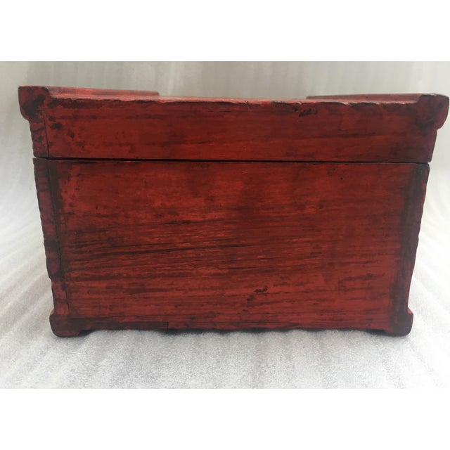 Antique Chinese Red Lacquer Box For Sale - Image 7 of 11