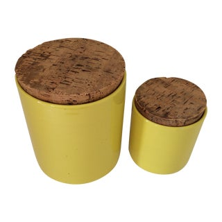 Mid-Century Yellow Ceramic Canisters - A Pair For Sale