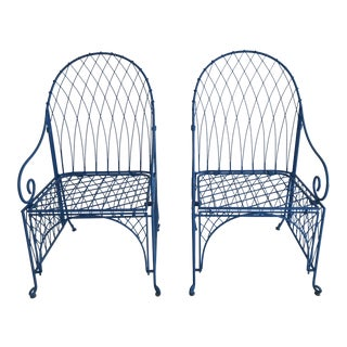 Vintage Italian Iron Folding Chairs - A Pair For Sale