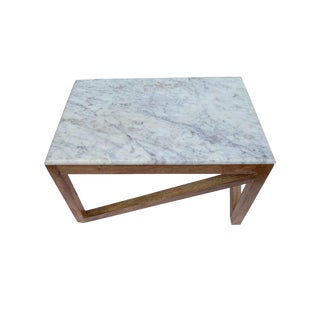 Vintage Carrara Marble and Oak Accent Side Table For Sale