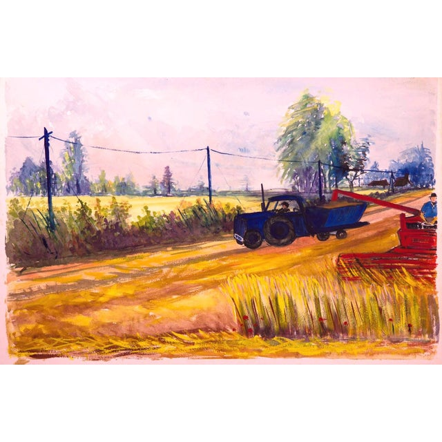 """Vintage Original Rustic """"Tractor"""" Painting For Sale"""