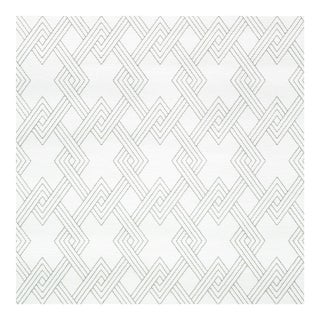 Schumacher Hix Embroidered Paperweave Wallpaper in Grey For Sale