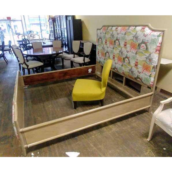 2010s Contemporary Henredon Furniture Quartz Grey Catherine King Upholstered Bedframe For Sale - Image 5 of 11