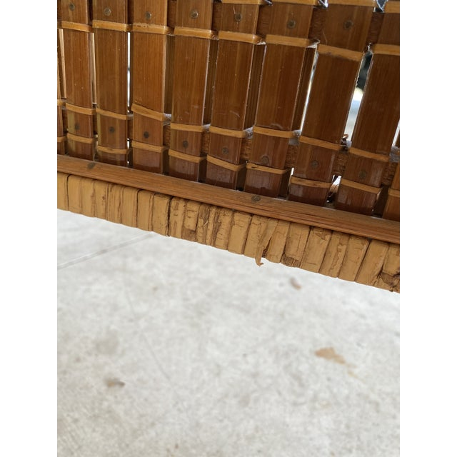 Mid-Century Modern Vintage Wicker Wrapped Bamboo Insert Side Tables - a Pair For Sale - Image 3 of 13