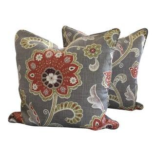 Jacobean Style Floral Design Pillows - A Pair For Sale