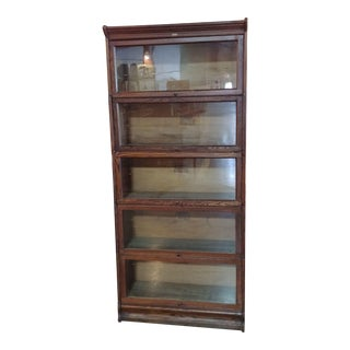 1920s 5 Stack Oak Barrister Bookcase For Sale