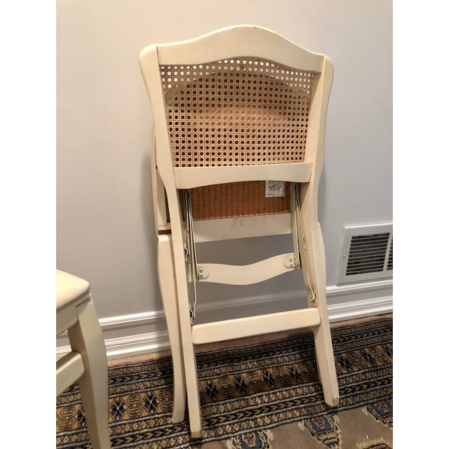 Caned Backed Neutral Colored Stackmore Folding Chairs - Set of 4 For Sale - Image 9 of 12