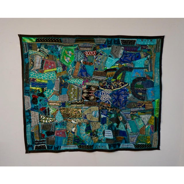 Turquoise 1960's Boho Patchwork Tapestry For Sale - Image 8 of 8