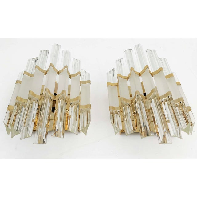 Murano 1970s Murano Glass and Brass Wall Sconces - a Pair For Sale - Image 4 of 7