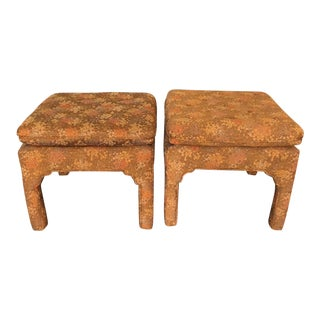 Upholstered Asian Style Pagoda Benches- a Pair For Sale