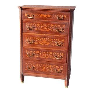 Dutch Marquetry Inlaid Mahogany Tall Dresser For Sale