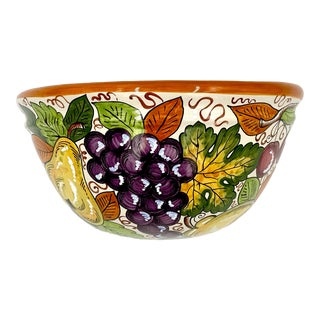 Vintage Late 20th Century Italian Hand-Painted Ceramic Fruit Wall Pocket For Sale