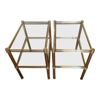 1970s Mid Century 2-Tiered Side Tables - a Pair Brass Clear Glass Italian Design For Sale