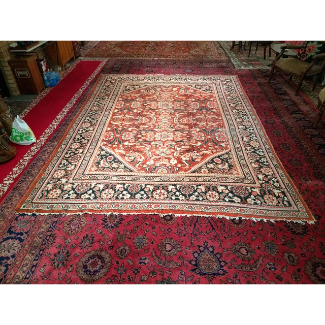 Cotton Persian Mahal Sultanabad Red and Auburn Wool Rug - 9′ × 12′5″ For Sale - Image 7 of 7
